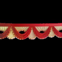 24 FT - Designer Zalar - Scallop Zalar - Kantha - Jhalar - Made Of Lycra With Tipki - Red & Chandan Colour