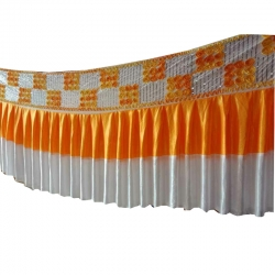 Table Cover Frill - Counter Jhalar - Made of Brite Lycra - Orange & White Color (Size Available in 10 Ft X 15 Ft X 30 Ft )
