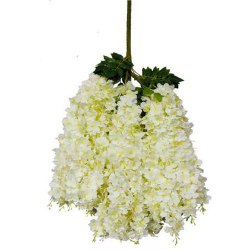Height - 42 Inch - Hydrengea Wisteriya - Latkan - Flower Decoration - Artificial Latkan - Plastic Latkan - AF - 427- White Color - 1 Packet ( 12 Pieces )