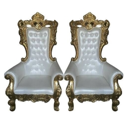 White Color - Regular Chair - Couches - Wedding Chair - Made of Wooden & Paint Finish - 1 Pair ( 2 Chair )