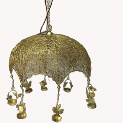 14 INCH - Decorative Jhumar With Colorful Elephant - Golden Color