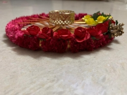 6 Inch Round Ring Flower Diya - Red Color