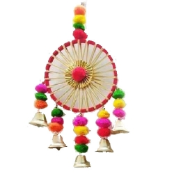 12 INCH - Multicolor - Jhumar - Wall Hanging - Decorative Jhumar - Made of ( Woolen,Wooden,Lays,Plastics )
