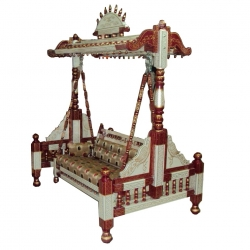 Sankheda Jhula - Wooden Swing - Made Of Premium Quality Wood - White  & Golden Color
