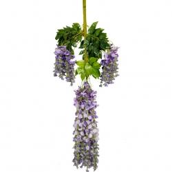 3.5 FT - Plastic Artificial Flower - Latkan - Flower Decoration - Purple Color - (1 Packet - 12 Piece Leaf )