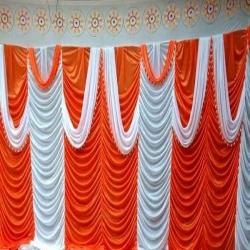 10 FT X 15 FT - Designer Curtain - Parda - Stage Parda - Wedding Curtain - Mandap Parda - Back Ground Curtain - Side Curtain - Brite Lycra - Orange & White Color