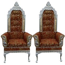 Multi Color -  Heavy Metal Premium Jaipuri Varmala Chair - Wedding Chair - Chair Set - Made Of Metal & Wooden - 1 Pair ( 2 Chair )