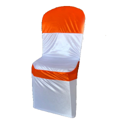 Chandni Chair Cover without Handle For Plastic Chair - White & Orange Color