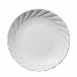 6.5 Inch - Chat Plate - Made of Food-Grade regular Plastic Material - Leher Round Shape - White Color