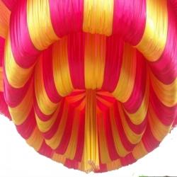 10 FT X 10 FT - Designer Mandap Ceiling Cloth - Design 24 Gauge Brite Lycra Cloth - Pink & Yellow Color