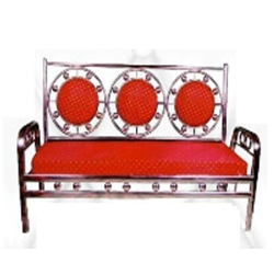 3 - Seater 100 % Stainless  Steel Royal Sofa -Traditional Floral Print Design Sofa - Red Color