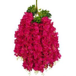 Height - 42 Inch - Hydrengea Wisteriya - Latkan - Flower Decoration - Artificial Latkan - Plastic Latkan - AF 1032 - 665 - Dark Redish Pink Color - 1 Packet ( 12 Pieces )