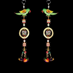 12 INCH - Rajasthani Jhumar - Parrot Jhumar - Door Hanging - Jhumar - Multi Color