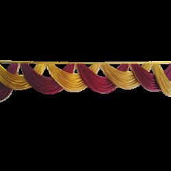 15 FT - Designer Zalar - Scallop Zalar - Chain Scallop Zalar - Kantha - Jhalar - Made of Lycra with Tipki - Maroon & Sona Gold Colour