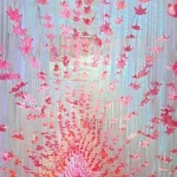 15 FT X 15 FT - Ribbon Ceiling - Fur Ceiling - Fancy Ceiling - Satin Fabric Ribbon With Flower - White & Light Pink Color