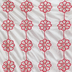 26 Gauge - Designer Bright Lycra - Embroidery Work - 52 Inch Panna -  Threadwork & Sequence Work - Super White Color & Red Flowers