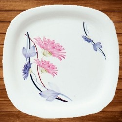 11.50 Inch Dinner Plates - Deluxe White - Made Of Food-Grade Regular Plastic Material - Square Shape - Printed Plate