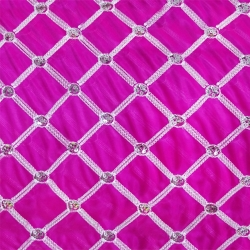 26 Gauge - Designer Bright Lycra - Embroidery Work - 52 Inch Panna - Threadwork & Sequence Work - Pink & White Color