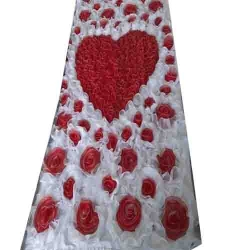4 FT X 8 FT - Artificial Flower Panel - Back Material Taiwan Cloth - Red & White Color