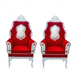 Red Color - Heavy Metal Premium Jaipur Mandap Chair - Wedding Chair - Varmala Chair - Made Of High Quality Metal & Wooden - 1 Pair ( 2 Chair )