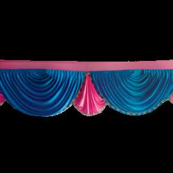 18 FT - Designer Jhalar - Scallop Jhalar - Kantha - Jhalar - Made Of Lycra With Tipki - Firozi Blue & Maharani Pink Color