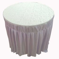 4 FT X 4 FT - Round Table Cover - Made Of Premium Quality Lycra Cloth - White Color