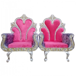 Pink Color - Heavy Premium Metal Jaipur Chair - Wedding Chair - Varmala Chair - Made of High Quality Metal & Wooden - 1 Pair ( 2 Chair )