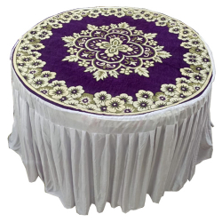 4 FT X 4 FT - Round Table Cover Frill - Shannel Fabric ..