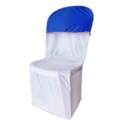 Lycra Cloth - Chair Cover with Lycra Cap - Without Handle - For Plastic Chair - Armless - Royal Blue & White Color