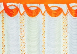 10 ft x 15 ft - Designer Curtain - Parda - Stage Parda - Wedding Curtain - Mandap Parda - Background Curtain - Side Curtain - Made of Bright Lycra - Multi Color - White + Orange  - Festoon