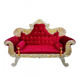 Red Color - Heavy Premium Metal Jaipur Couches - Sofa - Wedding Sofa - Wedding Couches - Made of High Quality Metal & Wooden