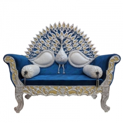 Blue Color - Heavy Premium Metal Jaipur Couches - Sofa - Wedding Sofa - Wedding Couches - Made Of High Quality Metal & Wooden