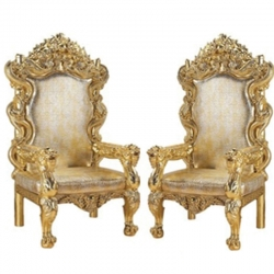 Silver Gold Color - Regular Chair - Couches - Wedding Chair - Made of Wooden & Paint Finish - 1 Pair ( 2 Chair )