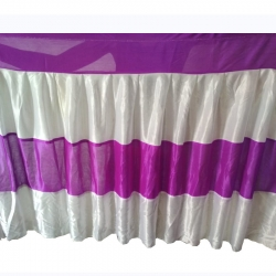 Table Cover Frill - Made of Brite Lycra - 24 Gauge - Purple & White Color (Size Available 15 FT X 20 FT X 30 FT )