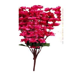 Height  24 Inch - Blossom Bunch X 9 Stick - AF- 503 - Leaf Bunch - Pink Color