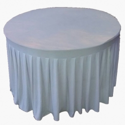4 FT X 4 FT - Round Table Cover - Made of Premium Quality 26 Gauge Brite Lycra - White Color