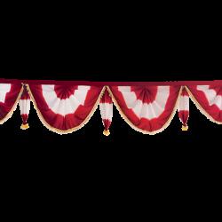24 FT - Designer Zalar - Scallop Zalar - Kantha - Jhalar - Made Of Lycra Shaded - Maroon & White Shaded Color
