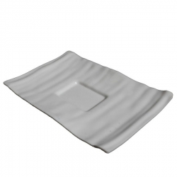 7 Inch X 10 Inch - Square Platter - Snack Tray - Dessert Plate - Made of Food Grade Acrylic - White Color