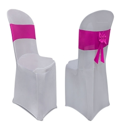 Lycra Cloth Chair Cover Without Handle - For Plastic Chair - Silver with Maharani Pink Bow - Armless