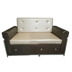 2 Seater Sofa VIP - Made of Steel & Fome - Cream & Brown Color