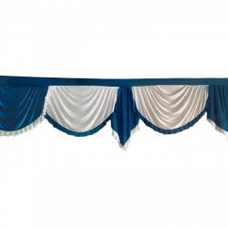 24 FT - Designer Zalar - Scallop Zalar - Kantha - Jhalar - Made Of Lycra - Peacock Blue & White Colour
