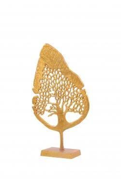 Single Leaf Stand - Decorative stand - Made of Aluminium Golden Polish