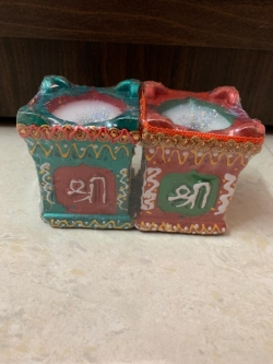 3 Inch - Handcrafted Big Tulsi Pot Style Tea Light Holding Diya Pair