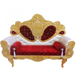 Maroon & White Color - Heavy Premium Metal Jaipur Couches - Sofa - Wedding Sofa - Wedding Couches - Made of High Quality Metal & Wooden