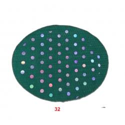 22 Gauge - TIKLI BRITE LYCRA - 54 Inch Panna with tikli Work  - Event Cloth - Rama Color