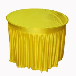 4 FT X 4 FT - Round Table Cover - Table Top Taiwan &  Jhalar Brite Lycra Cloth - Yellow Color