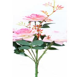 Height 18 Inch - Rose Bunch X 6 - AF - 155 -Artificial Bunch - Leaf Flower - LIght Pink Color