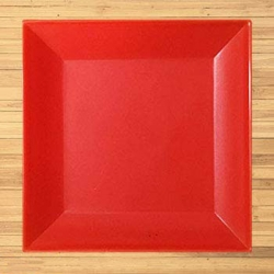 5 Inches - Snack Plate - Square Shape Chat Plate - Made Of Food Grade Regular Plastic - Red Color