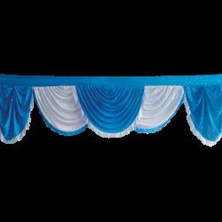 18 FT - Designer Jhalar - Scallop jhalar - Kantha - Jhalar - Made Of Lycra With Tipki - Firozi Blue & White Color