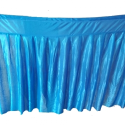 Table Cover Frill - Made of Brite Lycra - 24 Gauge - Sky Blue  Color (Size Available 15 FT X 20 FT X 30 FT )